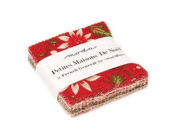 "15% off thru Mar.19th Mini Charm pack PETITES MAISONS de NOEL from French General 42 2.5"" squares Moda cotton fabric 13790Mc Christmas"