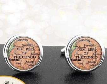 Map Cufflinks Kinshasa Dem Rep Of The Congo Central Africa Cuff Links for Groomsmen Groom Fiance Anniversary Wedding Party Fathers Dads Men