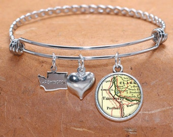 Vancouver WA Map Charm Bracelet State of Washington Bangle Cuff Bracelet Vintage Map Jewelry Stainless Steel Bracelet