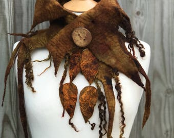 Leaf cowl- scarf-Woodland Felted Cowl - woodelf-nature inspired - felted scarf- woodland scarf- festival -fairy costume-larp- Autumn scarf