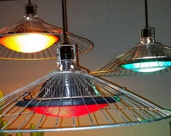 Set of (3) Unique Upcycled Industrial Pendant Lights Lamps Stop Signal Lenses Globes Wire Shades Steampunk Cool