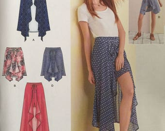 Simplicity 8343, Misses' Wrap Front Skirt and Shorts in Two Lengths Pattern, UNCUT, Casual, Open Front Skirt, Summer, Beach, 2017