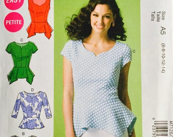 McCall's M7126, Size 6-8-10-12-14, Misses'/Miss Petite Tops Pattern, UNCUT, Close Fitting Top, Pullover, Easy, Peplum, High Fashion, 2015