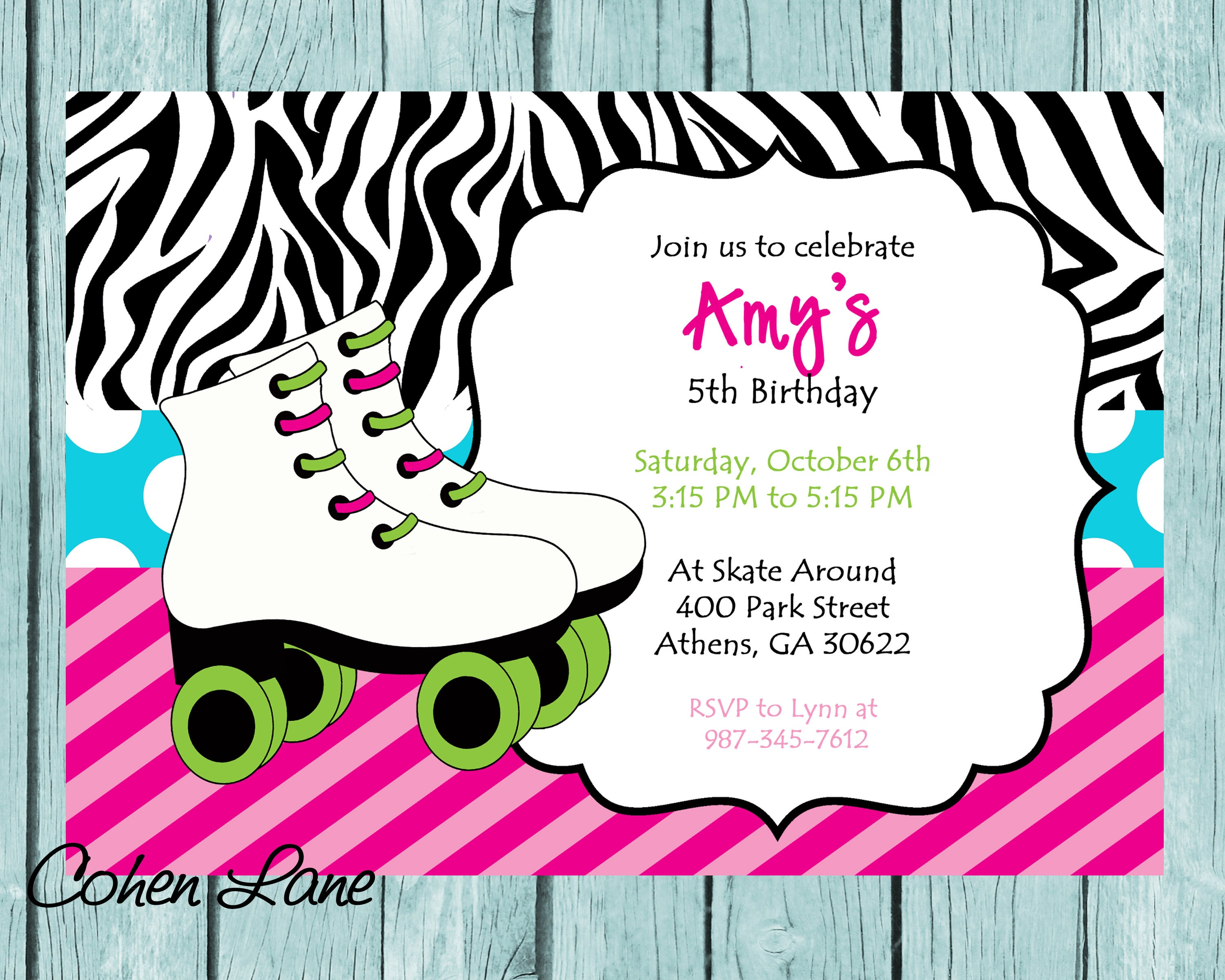 DIY Printable Skating Party Invitation. Zebra Print Skate