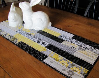 Quilted Table Runner Table Topper in Contemporary Yellow, Grey & Black Summer Table Runner - Perfect for Gray and Yellow Modern Decor