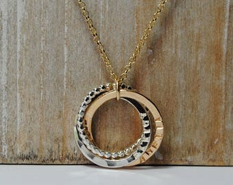 Silver and Gold Names Necklace, Family Necklace, Interlocking Rings, Moms Gift, Kids Names, Mixed Metals