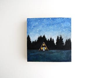 A-frame Cabin at Night Mixed Media Painting - 4 x 4
