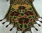 "Poinsettias Christmas Holiday Enamel Mesh Handbag, 1929, Mandalian Mfg. Co, Golden-Pearl, Garnet-Red, Leaf-Green, Black, 4"" Wide, 8.5"" Long"