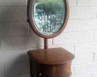 Antique Mens Shaving Station Stand Oak With Swivel Beveled Mirror and Compartments Gorgeous Wood Work Barber Shop Decor