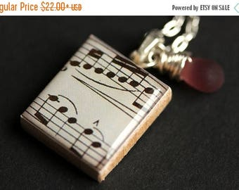 BACK to SCHOOL SALE Sheet Music Necklace. Music Lover Necklace. Symphony Necklace. Scrabble Tile Pendant. Charm Necklace with Glass Teardrop