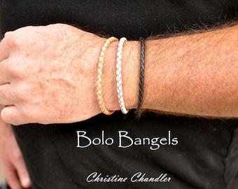 Mens Leather Bracelets - BOLO BANGLES - Bolo Leather Bracelet - Mens Leather Bracelet or Womens Leather Bracelet - Stacking Bracelets