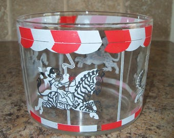 "FREE USA SHIPPING-Vintage Hazel Atlas ""Circus"" Ice Bucket Bowl"