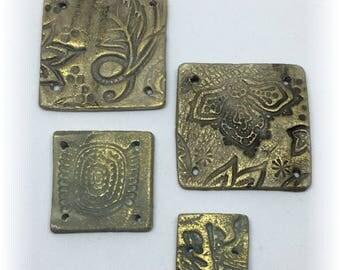 Artisan Handmade Rustic Ceramic Embellishment Tiles (4)