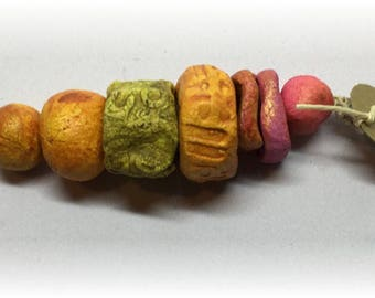 7 Rustic Handmade Ceramic Beads for Jewelry and Mixed Media