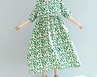 Women Summer Long dress green loose doll dress