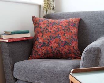 """Handmade orange and red floral square cushion cover 50cm x 50cm/ 20"""" x 20"""" in Mustard Yellow"""