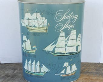 Vintage Cheinco Sailing Ships Trash Waste Basket Can
