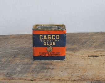 Vintage Casco Powdered Casein Glue Tin Full