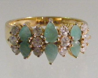 Vintage Genuine Emerald Ring in Sterling Silver Vermeil with CZ accents..... Lot 5300
