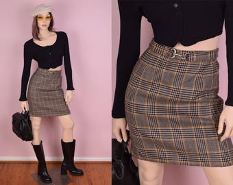 90s Plaid Wool Skirt/ US 2/ 26 Waist/ 1990s/ Houndstooth
