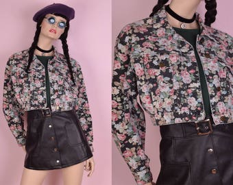 90s Floral Print Cropped Denim Jacket/ Medium/ 1990s