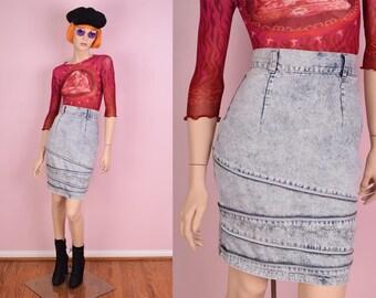 80s High Waisted Acid Wash Zipper Detail Skirt/ 23.5 Waist/ 1980s/ Denim