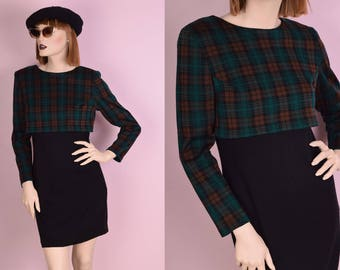 80s Plaid and Black Knit Dress/ US 7-8/ 1980s/ Long Sleeve