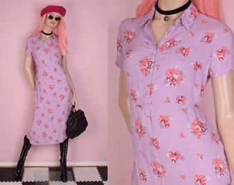 90s Floral Print Maxi Dress/ US 8/ 1990s