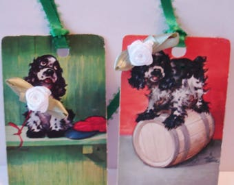 Paper Goods - Handmade - Tags - Vintage - Playing Card Tags ( 6 ) Tags of Adorable Dogs - Rose Collar - Hair Bow