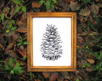 Black Nature Print - Pine Cone Forest Print