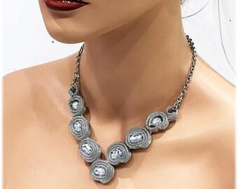 Wedding Necklace, Silver Rose Crystal Bridal Necklace, Bridal Necklace, Wedding Jewelry, Bridesmaid Jewelry, Silver Chain Necklace Jewelry