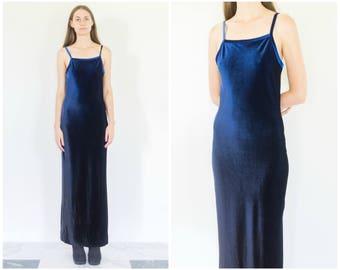 90s Blue Indigo Velvet Spaghetti Strap Maxi Dress
