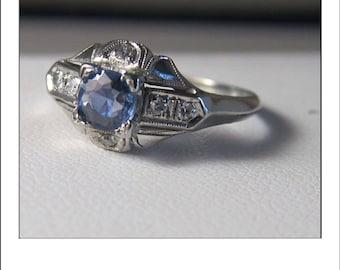 Vintage Deco 18k Ceylon Sapphire Diamond Engagement Ring