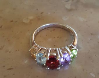 Multi Gemstone ring, Woman's size 7