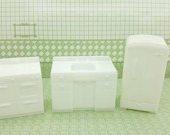 Marx Kitchen Fridge Stove Sink  White Hard Plastic Toy Dollhouse Traditional Style