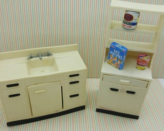 Jaydon Tall Cabinet with drawer and   Kitchen Sink  Doll House Toy Kitchen Soft Plastic kitchen