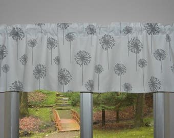 dandelion valance gray and white dandelion valance lined or unlined request a custom