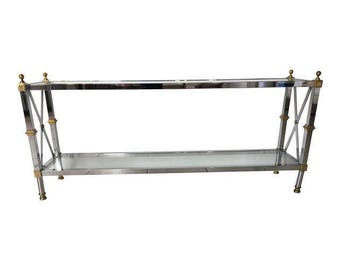 Chrome and Brass Maison Jansen Style Console Table