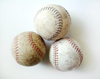 Vintage Group of Three Softballs, Lots of Wear, Shabby Chic
