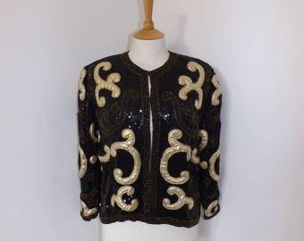 Vintage 1980s Frank Usher heavily beaded evening jacket black sequins gold beads size Medium UK 12 14