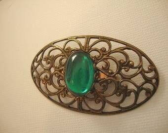 Art Nouveau Green Brooch Glass Cabochon Pierced Metal