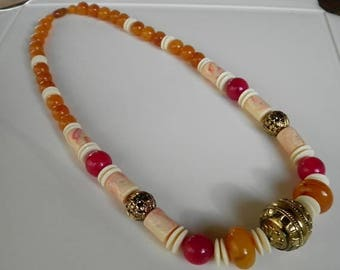 50% OFF Beautiful Lucite Large scale Fruit Cocktail Colored Necklace