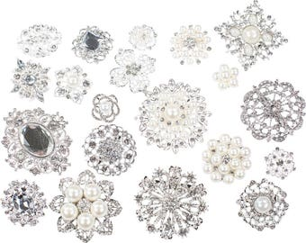 90pcs DIY Brooch Bouquet Supplies Mixed Pack, Wedding Broach Bouquet Brooches with Clear Stones and Pearls, 711-SP