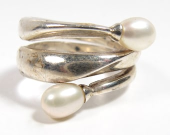 Vintage Sterling Silver Wide Wrap Ring Tear Drop Pearl Ends Size 9