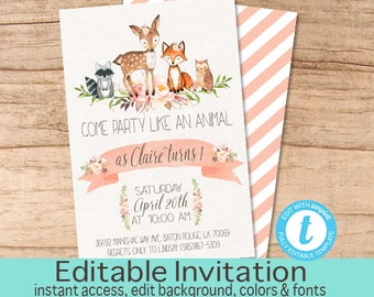 Woodland Animal Birthday Invitation, Floral Woodland Invite, Party like an animal, Editable Invitation template, Templett INSTANT DOWNLOAD