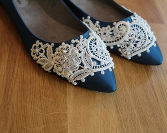 French Pleat Bridal Ballet Flats Wedding Shoes - Any Size - Pick your own shoe color and crystal color