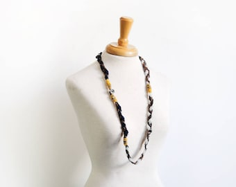 Mixed Media Necklace, Braided leather, Vintage button, layering jewelry