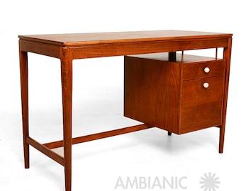 Mid Century Modern Walnut Desk by Drexel Kipp Stewart