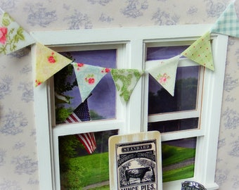 Dollhouse miniature fabric bunting, fabric banner - Shabby Chic 1:12 scale