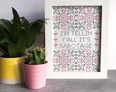 SABOTAGE Beastie Boys inspired cross stitch print